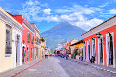 Antigua Guatemala. ANTIGUA , GUATEMALA - JULY 30 : Street view of Antigua Guatemala on July 30 2015. The historic city Antigua is UNESCO World Heritage Site Royalty Free Stock Photo