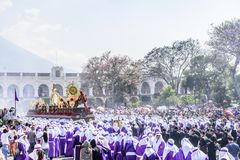 Palm Sunday procession in front of cathedral, Antigua, Guatemala. Antigua, Guatemala -  March 25, 2018: Palm Sunday procession in front of cathedral & central royalty free stock photo