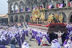 Palm Sunday procession in front of City Hall, Antigua, Guatemala. Antigua, Guatemala -  March 25, 2018: Palm Sunday procession in front of City Hall & central royalty free stock images