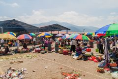 ANTIGUA, GUATEMALA - MARCH 26, 2016: Vegetable stalls at a local market in Antigua Guatemala town, Guatemal stock images