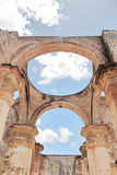 Antigua, Guatemala: Ruins of Cathedral of Santiago, built in 1545. And damaged by the big earthquake of 1773. UNESO World Heritage royalty free stock image