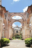 Antigua, Guatemala: Ruins of Cathedral of Santiago, built in 1545, and damaged by the big earthquake of 1773. UNESO World. Heritage stock photo