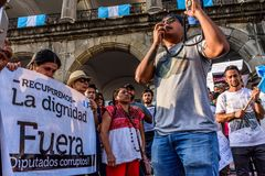 Political protests, Antigua, Guatemala. Antigua, Guatemala - September 15, 2017: Locals protest against government corruption in front of city hall on Guatemala` royalty free stock images