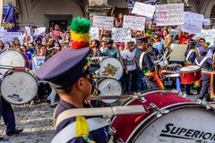 Band & protesters, Independence Day, Guatemala Stock Photos