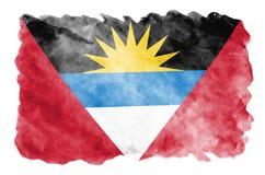 Antigua i Barbuda flaga przedstawia w ciekłym akwarela stylu odizolowywającym na białym tle obrazy royalty free