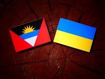 Antigua i Barbuda flaga z kniaź zaznacza na drzewnego fiszorka iso Zdjęcia Royalty Free