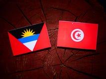 Antigua i Barbuda flaga z tunezyjczykiem zaznacza na drzewnego fiszorka isol Fotografia Stock