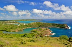 Antigua landscape 2. View overlooking the tropical island of Antigua Royalty Free Stock Photo