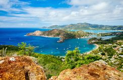 Antigua landscape. View of English Harbor in Antigua from Shirley Heights royalty free stock images