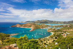 Antigua landscape. View of English Harbor in Antigua from Shirley Heights stock image