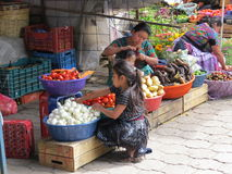 Antigua market stall. Market stall in Antigua, Guatemala selling fruit and vegetables royalty free stock images