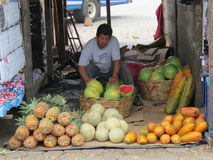 Antigua market stall. Market stall in Antigua, Guatemala selling fruit and vegetables royalty free stock photos