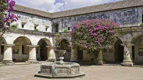 Antigua - monastery. Patio with wonderful shrubs of bougainvillea, arcade and fountain, convent of the capuchinas, antigua, guatemala royalty free stock photos