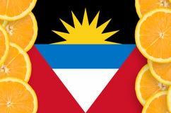 Antigua och Barbudaflagga i vertikal ram för citrusfruktskivor royaltyfri bild