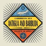 Antigua ochen Barbuda för stämpel- eller tappningemblemtext, upptäcker Wen Arkivbilder