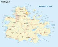 Antigua road map Royalty Free Stock Photos