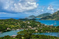 Antigua Shoreline and the Caribbean Sea. A view from Shirley Heights of English Harbour and the coast of the island of Antigua in the Caribbean Royalty Free Stock Photos
