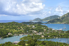 Antigua Shoreline. A view from Shirley Heights of English Harbour and the coast of the island of Antigua in the Caribbean Royalty Free Stock Photography