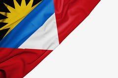 Antigua und Barbuda-Flagge des Gewebes mit copyspace f?r Ihren Text auf wei?em Hintergrund lizenzfreie abbildung