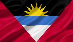 Antigua und Barbura fahnenschwenkend mit dem Wind, Illustration 3D Stockfotografie