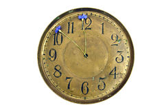 Antigue brass clock dial with cornflowers arrows isolated on white Stock Photo
