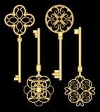 Antigue door key set in golden metallic design with historic ornamental vintage patterns. vector illustration