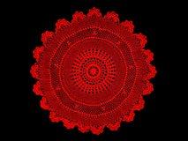 Antiguidade das avós, tablecloth vermelho do laço Imagens de Stock Royalty Free