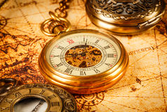 Antiguidade do vintage do relógio de bolso do vintage Fotos de Stock