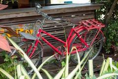 Antiguidade vermelha da bicicleta na frente de uma tabela de madeira Imagem de Stock