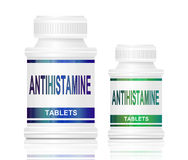 Antihistamine medication. Illustration depicting two medication containers with the words 'antihistamine tablets' on the front with white background Stock Image