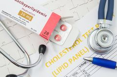 Antihyperlipidemic drug concept photo. Open packaging with drugs tablets, on which written `Antihyperlipidemic Medication`, lies. Near stethoscope, result Royalty Free Stock Image