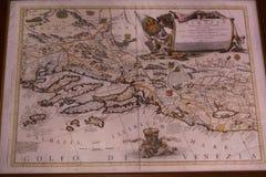 Antik översikt av golfen av Venedig, Dalmatia och kungariket av Bosna royaltyfri foto