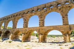 Antik akvedukt Pont du Gard, Frankrike, I-århundradeANNONS Arkivbild