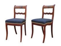 Antik Biedermeier stol med att snida för woor Royaltyfri Bild