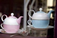 antik blå rosa teacup Royaltyfri Foto