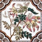 antik blom- tegelplattavictorian Royaltyfria Bilder