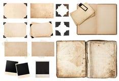 Antik bok, pappers- kort för tappning med hörn, band och ramar Arkivbild