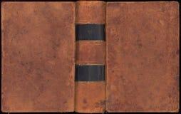 antik bokomslaglädertappning Arkivbild