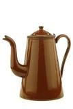 Antik brun enameled kaffekruka Arkivfoto