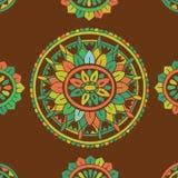 Antik dekorativ textilmodell Vektor Illustrationer