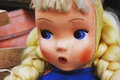Antik docka med uttryck Fotografering för Bildbyråer