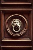 Antik dörrknackare i form av ett lejons huvud på gammal dörr, R Royaltyfri Bild