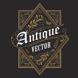 Antik för ramtappning för gräns västra typografi för etikett dragen hand Arkivfoto