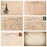 Antik fransk vykort med stämpeln från paris Urklippsbokelemen Royaltyfri Fotografi