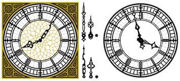 Antik gammal klocka för vektor med den roman fyrkantiga guld- prydnaden royaltyfri illustrationer