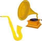 Antik grammofon och saxofon Arkivbilder