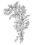 antik gravyr blommar vektorn Vektor Illustrationer