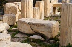 Antik grekisk kolonn i parthenonen, Aten Royaltyfri Fotografi