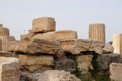 Antik grekisk kolonn, Parthenon, Aten, Grekland Royaltyfri Foto