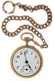 Antik guld- klocka en kedja Arkivbilder
